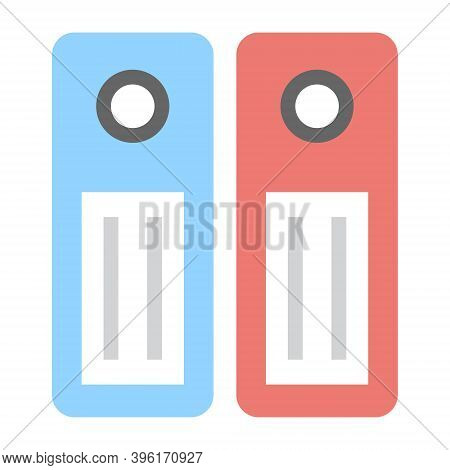 Binders Icon In Flat Style. Office Dossiers Folders Symbol. Collection Of Files, Documents In Ring B