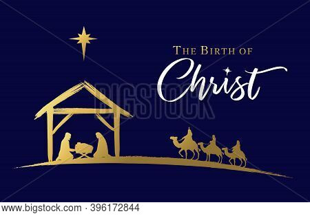 The Birth Of Christ, Nativity Scene Of Baby Jesus In The Manger. Holy Family, Three Wise Kings And S