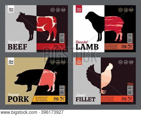 Butchery Labels, And Design Elements. Farm Animal Silhouettes And Icons