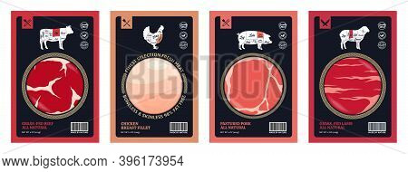 Vector Meat Packaging Design With Meat Cuts Diagrams