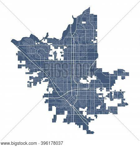Fresno Map. Detailed Vector Map Of Fresno City California Administrative Area. Cityscape Poster Metr