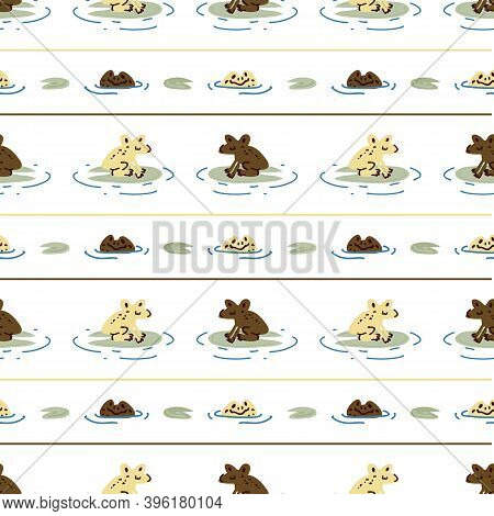 Cute Frog On Lily Pad Vector Pattern. Wildlife Pond Amphibian Home Decor With Cartoon Lake Toad. Sea