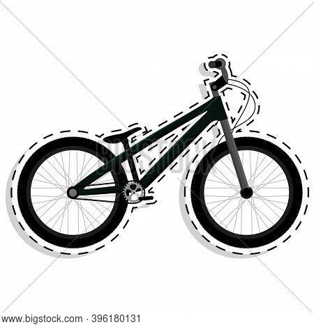 Bmx Bike In White Background Icon Sticker- Vector