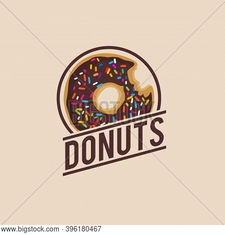 Donut Logo Vector Illusration . Design Element For Restaurant Menu Illustration Or For Logotype .