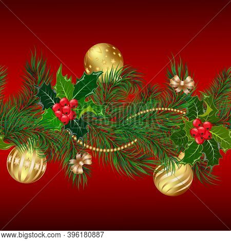 Colored Pattern From New Year's Branches.christmas Tree Branches And Red Berries With New Year's Dec