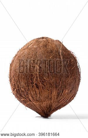 Close Up Of A Coconut On White Background. Fresh Coconut Isolated On White Background, Close Up Clip