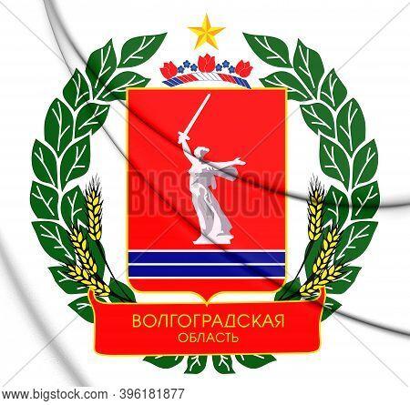 3d Volgograd Oblast Coat Of Arms, Russia. 3d Illustration.