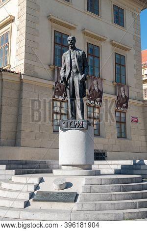 Prague, Czech Republic - July 10, 2020: Statue Of Tomas Garrigue Masaryk.
