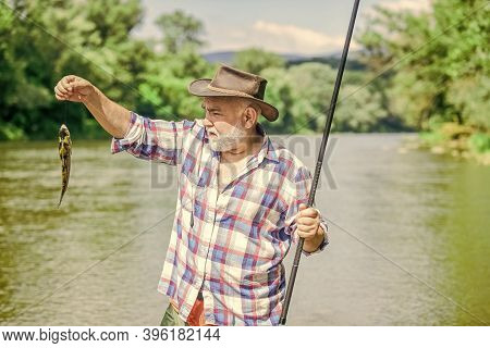 Lets Go Fishing. Summer Weekend. Big Game Fishing. Retired Bearded Fisher. Trout Bait. Fisherman Wit