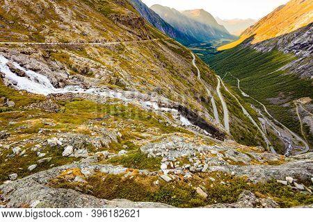 Trolls Path Trollstigen Or Trollstigveien Winding Scenic Mountain Road In Norway Europe. National To