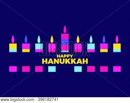 Happy Hanukkah. Nine Hanukkah Candles. Multi Colored Candles. Jewish Festival Greeting Card. Vector