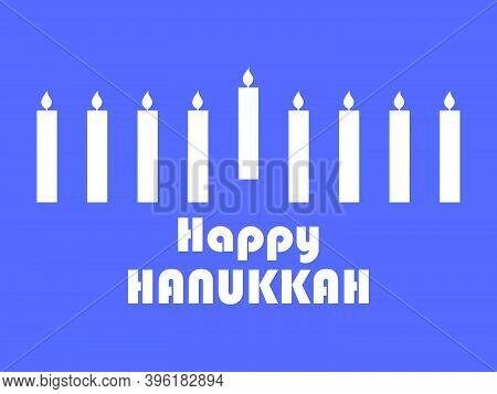 Happy Hanukkah. White Silhouettes Of Hanukkah Candles On A Blue Background. Jewish Festival Greeting