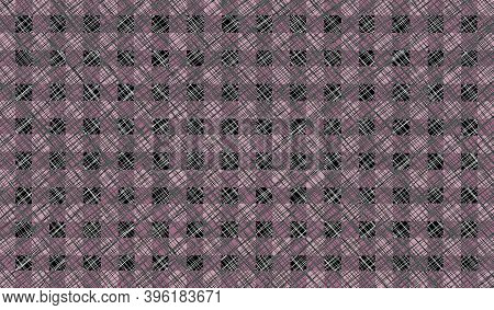Pink Black Gray Vintage Checkered Background With Blur, Gradient And Grunge Texture. Classic Checker