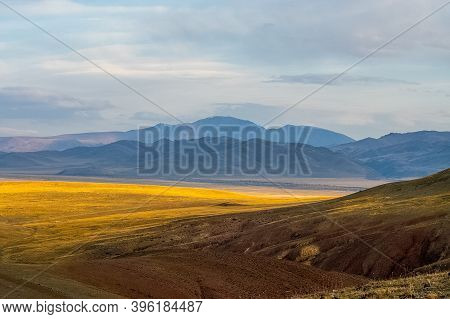The Altai Mountains. The Landscape Of Nature On The Altai Mountains And In The Gorges Between The Mo