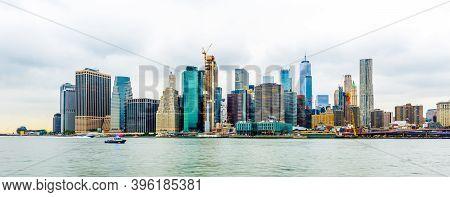 Manhattan Panoramic Skyline View. New York City, Usa.