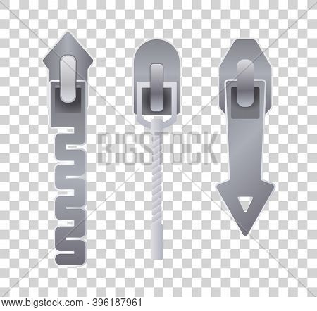 Metal Or Plastic Fasteners, Zippers. Fastener And Zipper Isolated, Zippered Accessories Illustration
