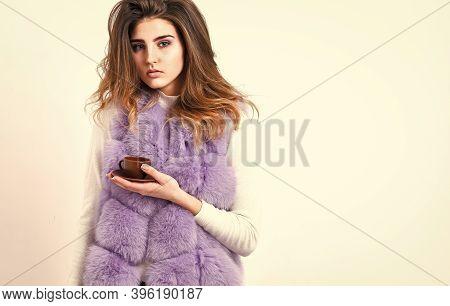 Elite Coffee Concept. Woman Makeup Wear Luxurious Fur Coat Drink Hot Coffee. Pretty Lady Drink Coffe