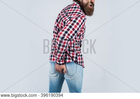 He Has Diarrhea. Mature Hipster With Beard Has Diarrhea. Brutal Guy With Moustache. Rectal Problems.