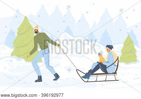 Flat Cartoon Family Characters Doing Winter Outdoor Activities, Sledging In Snow, Merry Christmas, H