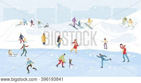 Flat Cartoon Family Characters Doing Winter Outdoor Sport Activities, Skiing, Ice Skating And Sledgi