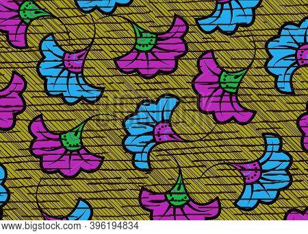 African Wax Print Fabric, Ethnic Handmade Ornament Flower Design, Tribal Pattern Motifs Floral Eleme