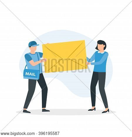 Receiving Letter. Postal Carrier Or Postie In Uniform And Cap Carrying Messenger Bag And Letter In E