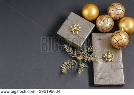 Handmade Gift Boxes Festively Wrapped, Fortuna Gold Colored Christmas Balls And Baubles. Care Packag