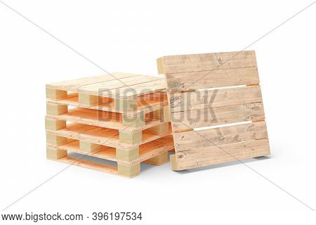 Wooden Transport Or Freight Pallets With One Pallet Leaning Against It Over White Background, Indust