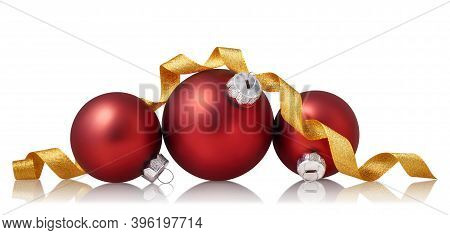 Red Christmas Baubles With Golden Ribbon Isolated Over White Background. Holiday Ornament, Winter De