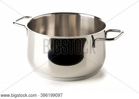 Open, Empty Stainless Steel Cooking Pot Over White Background, Cooking Or Kitchen Utensil, Selective