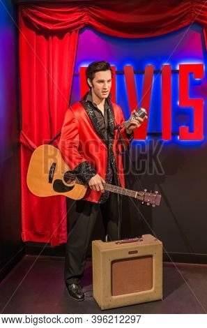 AMSTERDAM, NETHERLANDS - APRIL 25, 2017: Elvis Presley wax statue in Madame Tussauds museum on April 25, 2017 in Amsterdam Netherlands.