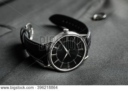 Luxury Wrist Watch On Black Fabric, Closeup