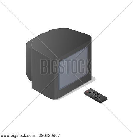 Classic Analog Television And Tv Remote. Isometric Vector Illustration On White Background. Home Tv