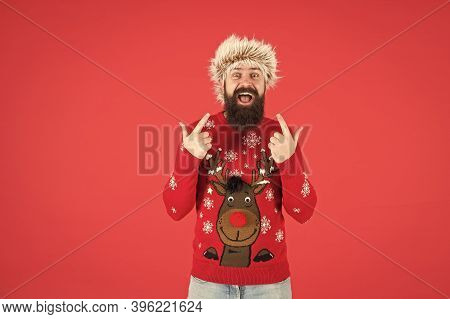 Winter Care. Emotional Guy. Cold Days. Barbershop Services. Man With Long Beard And Mustache. Winter
