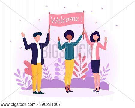 Happy Diverse Multiracial Man And Women Welcoming New People. Concept Of Attracting Diverse Business