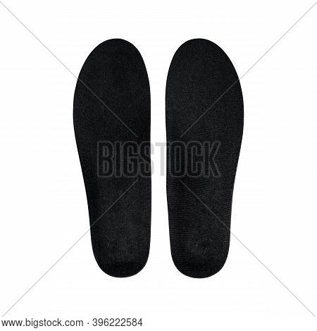 Black Orthopedic Insoles For Athletic Shoes Isolated On White Background.