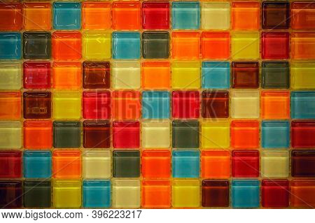 Close-up Photos Of Color Mosaic Texture Details And Seamless Wall Background, And Copy Space.