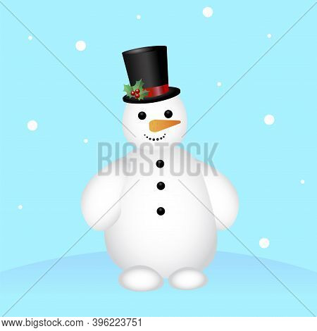 Cartoon Snowman Blue Background For Celebration Design. Merry Christmas Happy New Year Winter Illust