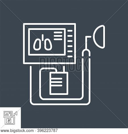 Medical Ventilator Related Vector Thin Line Icon. Ventilator With The Image Of The Lungs On The Scre