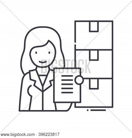 Warehouse Inventory Icon, Linear Isolated Illustration, Thin Line Vector, Web Design Sign, Outline C