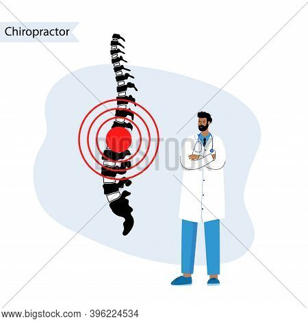 Chiropractic Spine Care Logo For Clinic. Doctor Vertebrologist Help. Spinal Pain In Backbone, Physio