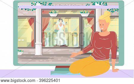 Wedding Dress Shop, Woman Bride. Girl Leads A Women S Blog, Sitting Near Monitor With Bridal Salon S