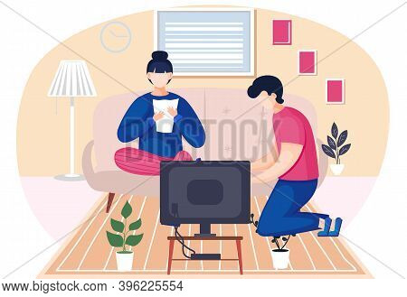 Family Husband And Wife Talking Sitting Together In The Room. Home Livingroom With Couch And Televis