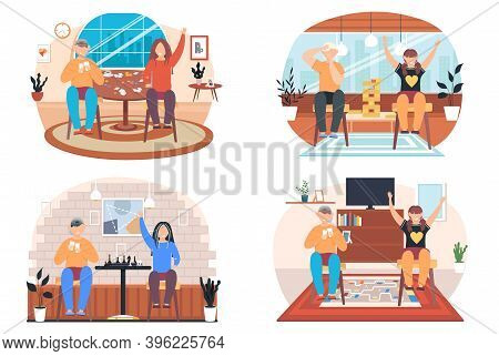 Children Playing Board Games At A Table, Friends Having Good Time Together Vector Scenes Set. Happy