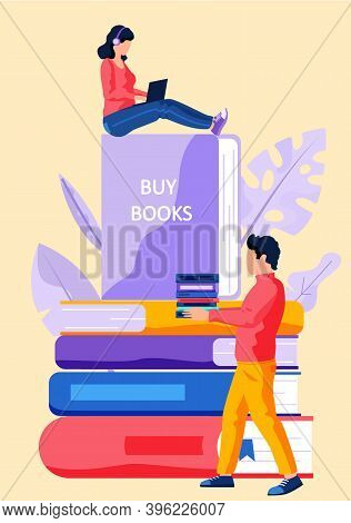 Online Bookstore, Online Learning, Digital Library, E-reading Concept Vector Flat Illustration With