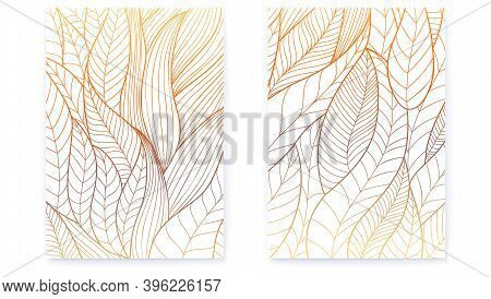 Set Of Posters With Hand Drawn Stylized Plant Leaves. Abstract Vector Line Art. Vintage Pattern From
