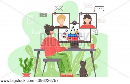 Video Conference. Woman Having A Conference Video Call With Her Colleagues Or Friends From Different