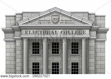 Electoral College System Presented As A Real Physical College Building. 3d And Photo Illustration