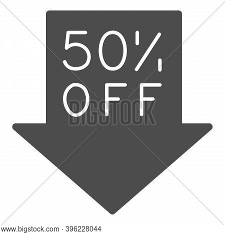 Down Arrow With Fifty Percent Discount Solid Icon, Black Friday Concept, Advertising Fifty Percent D