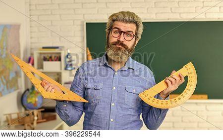 Math Subject. Geometry And Algebra. Theorem. Talented Teacher. Science Concept. Mature Bearded Teach